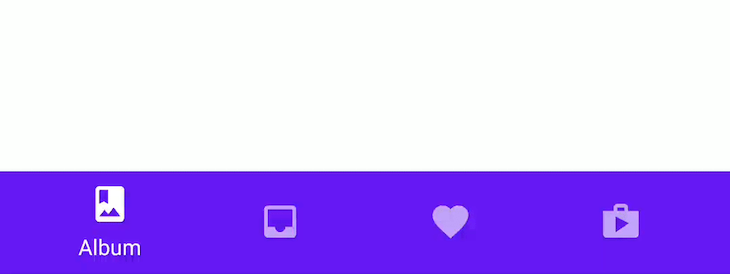 Screenshot of a material design bottom tab bar