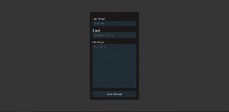 Screenshot of example app with input fields for name, email, and email message.