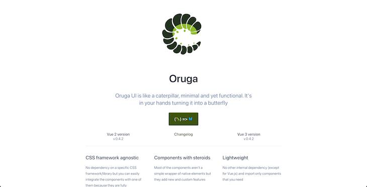 Screenshot of Oruga UI homepage