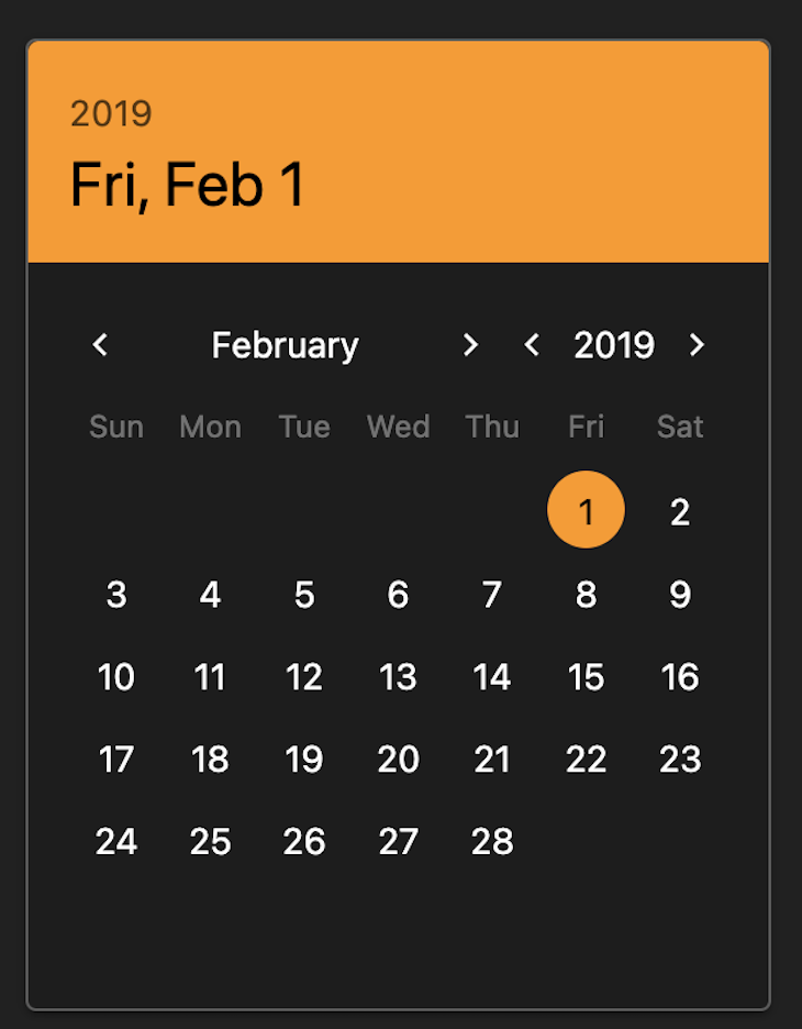 QDate Rendering Dark Mode, Showing Calendar In Black With Orange Highlight And Selected Date Rendered At The Top