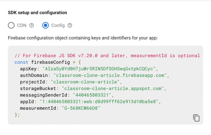 Screenshot of SDK setup and configuration screen