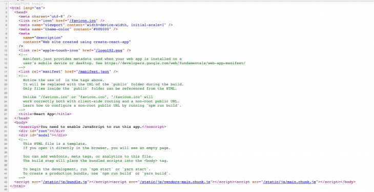 Screenshot of the code for the example app