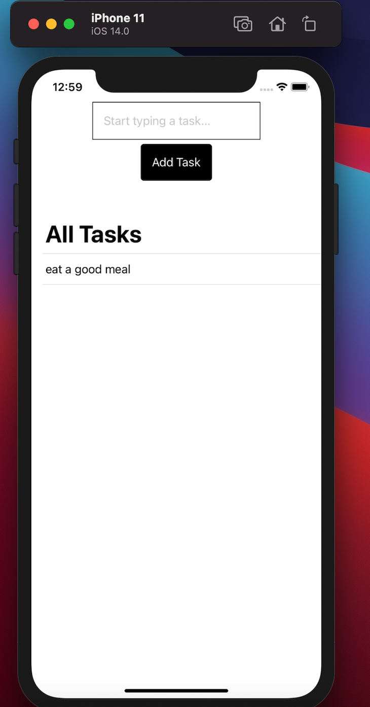 To-do Task Application With One Task And Button To Add More Tasks