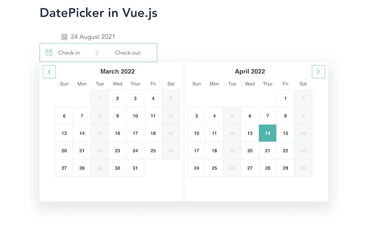 Vue Hotel Datepicker With Tuesdays And Saturdays Disabled, Shown By Graying Out The Date Boxes