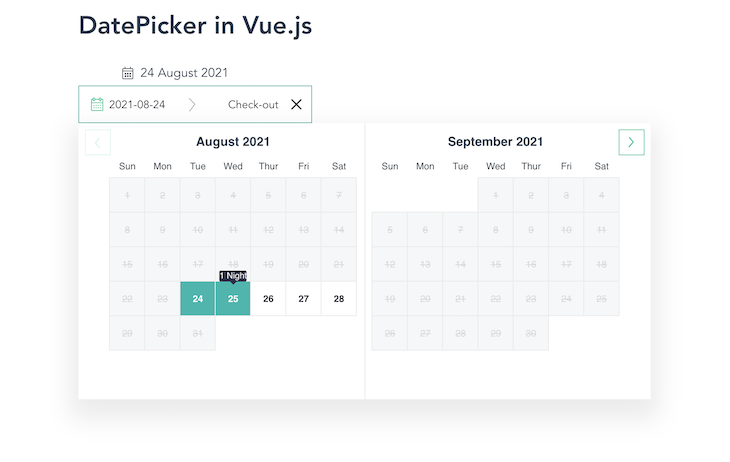 Vue Hotel Datepicker Calendar Rendering Showing Side-By-Side Calendar Months, Two Selected Days In Turquoise, And A Field With The Date Range At The Top
