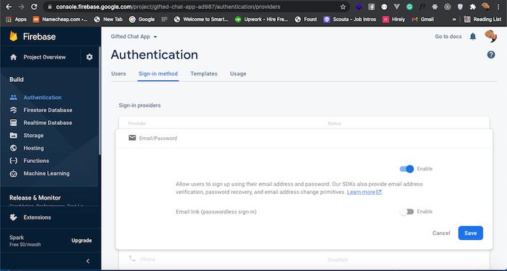 Add Authentication Firebase