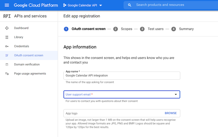 Creating an App on the OAuth Consent Screen in Google Cloud Platform