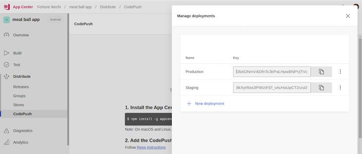 AppCenter Settings Private Key Display