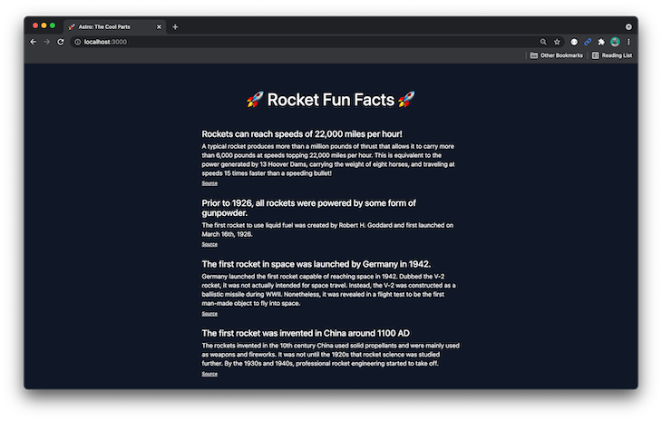 Browser Page Displaying Fun Facts About Rockets