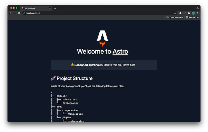 Browser Page Welcoming User To Astro Project