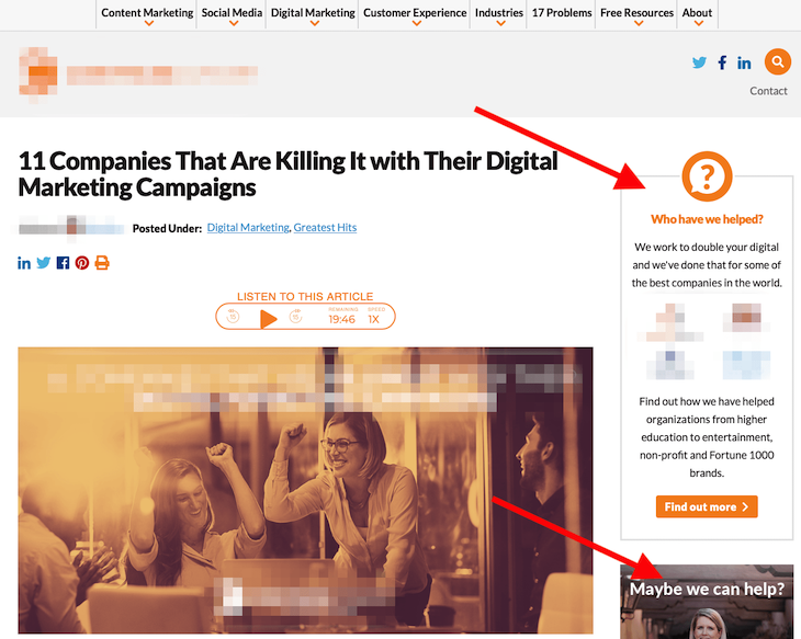 A Webpage with CTAs that Resemble Banner Ads
