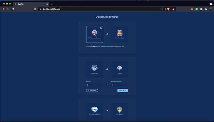 Betflix App Showing Sport Teams To Be Chosen