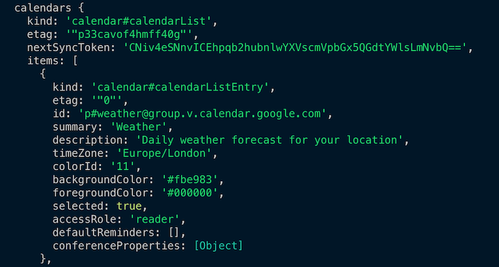 Calendars List Response in the Console