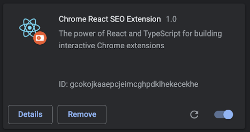 Chrome React SEO Extension Toggled On