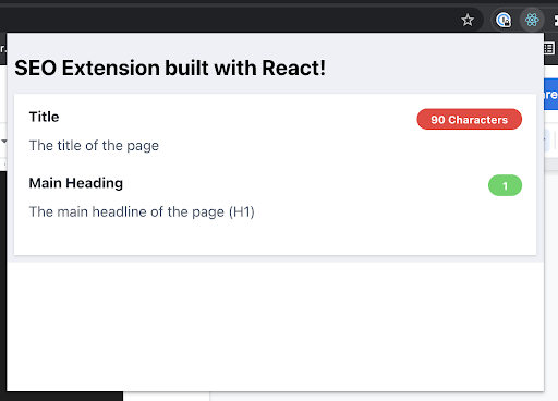 Chrome React Extension Pop Up With White Background And Heading