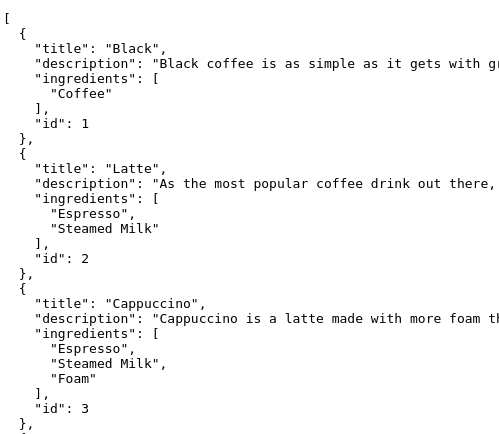 Coffee API List Response