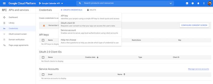 Create Credentials Dropdown in Google Cloud Platform