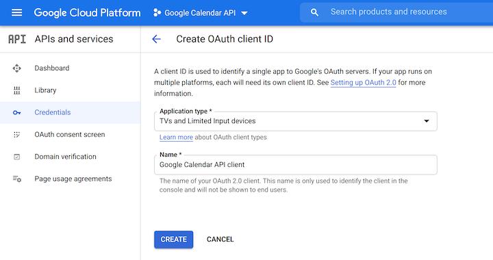 Create OAuth Client ID in Google Cloud Platform