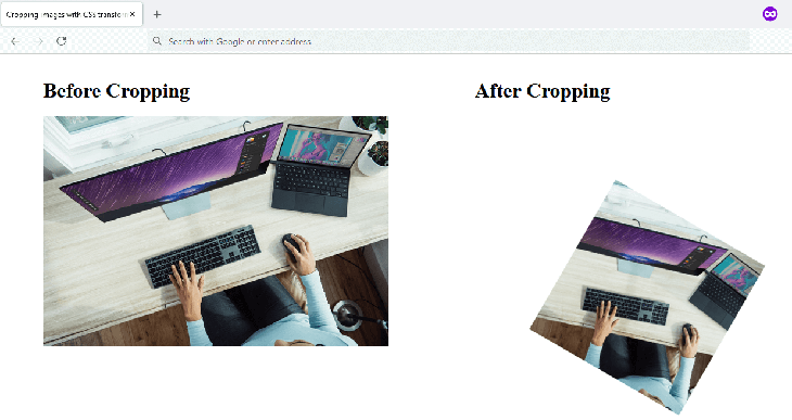 An image cropped using CSS Transforms