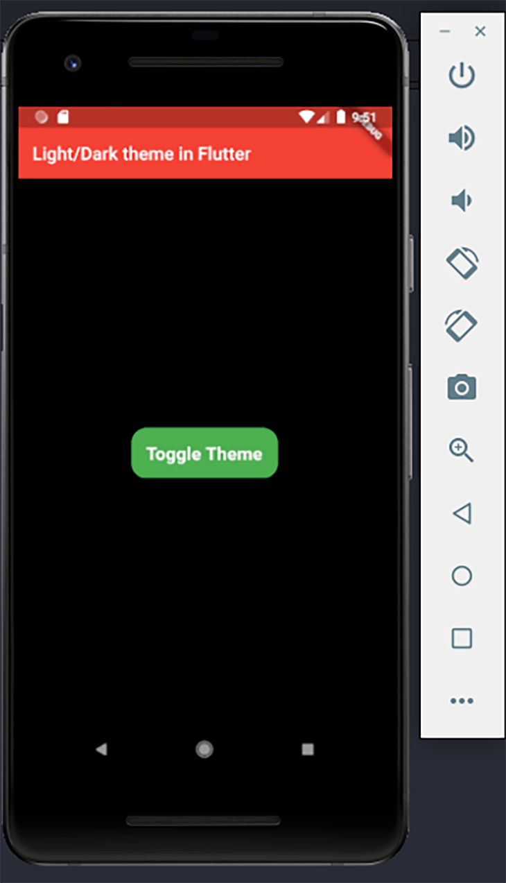 The app with the dark theme mode enabled