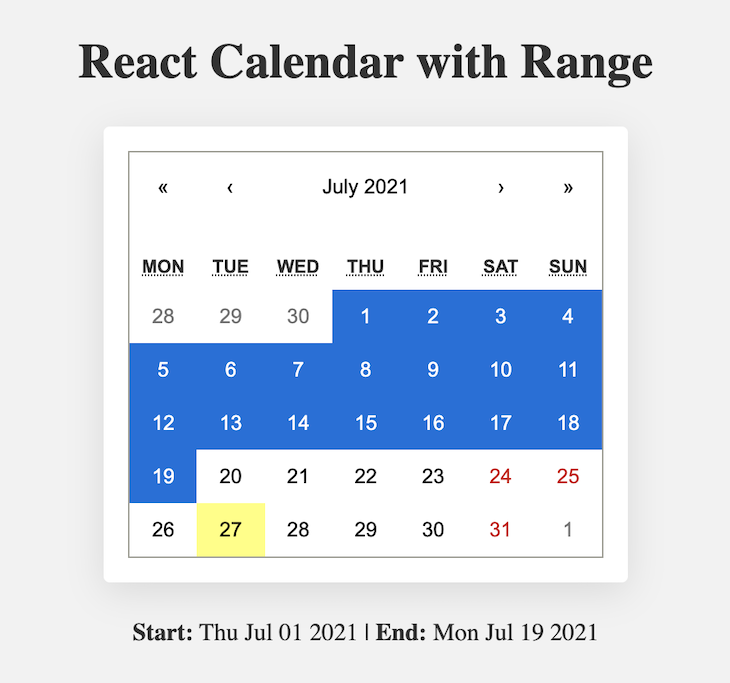 Calendar With A Range Of Dates Highlighted In Blue