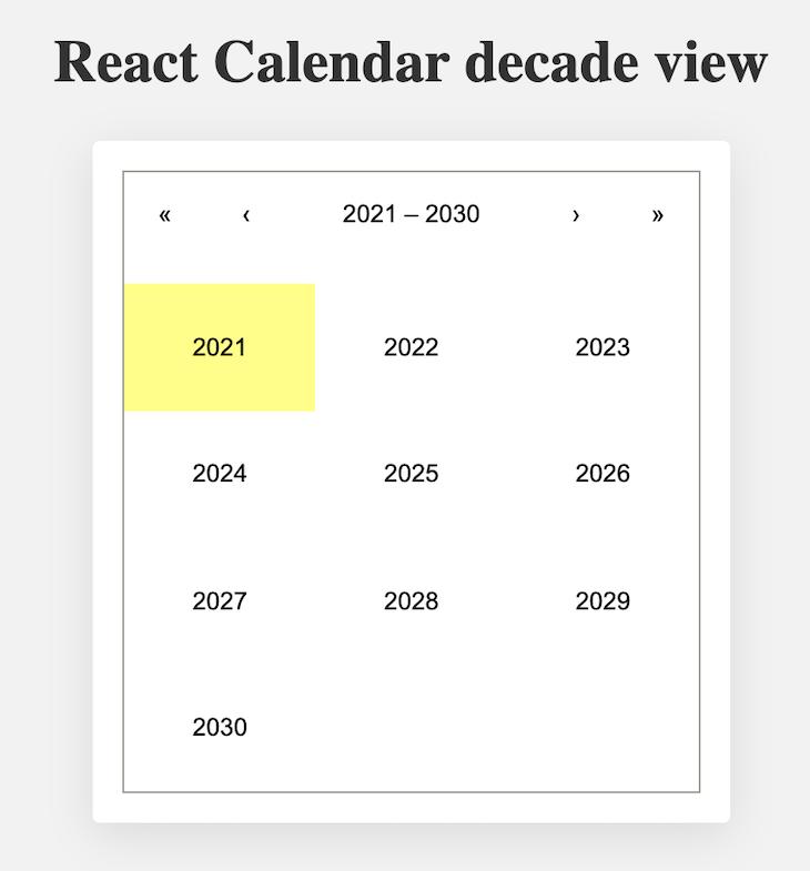 Calendar Showing Years 2021 through 2030