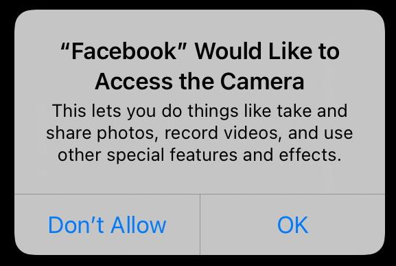 FB Camera Access Permission