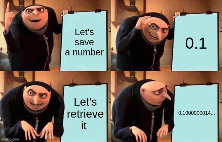 A meme explaining the float data type conversion error