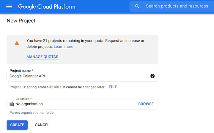 Creating a Project in Google Cloud Platform