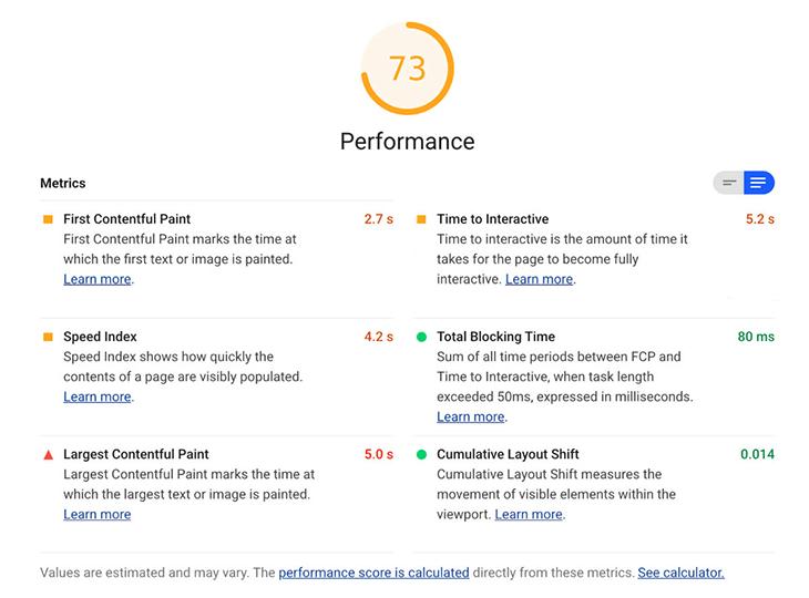 Google Lighthouse's performance metrics report