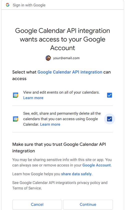 Google Calendar API Consent Screen
