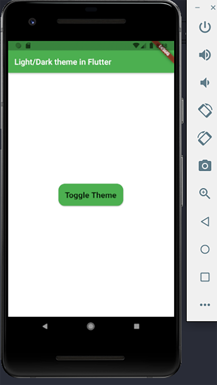 The app with the light theme mode enabled