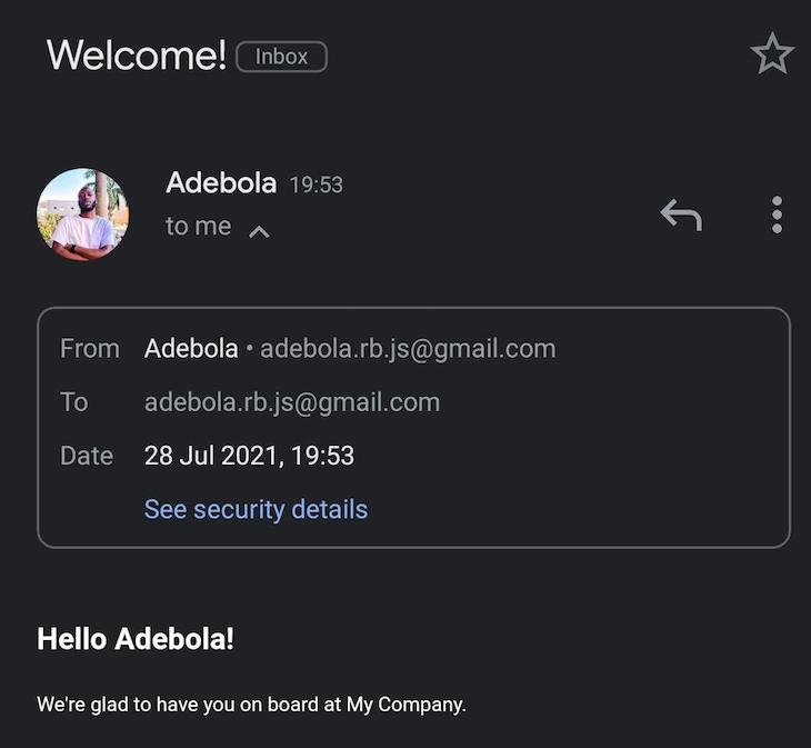 Nodemailer Email Inbox