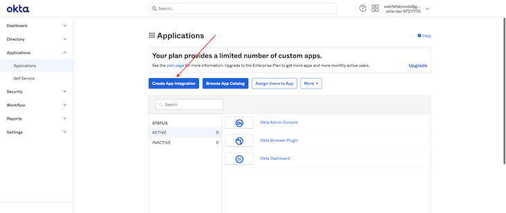 Applications Creation Page Highlighting Create App Integration Button