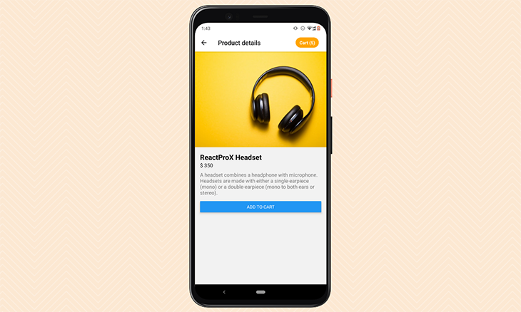 The product details screen