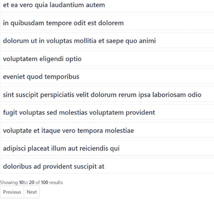 Previous Next Pagination Results Page