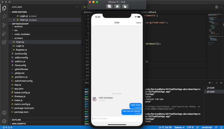 React Native Gifted Chat Dummy Message