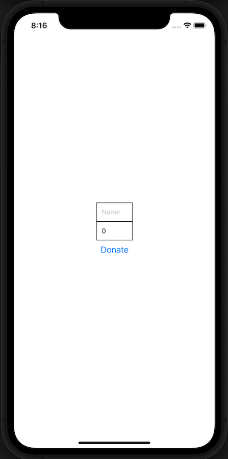 Simple donate app on an iphone with space for name, donation amount, and a blue donate button.