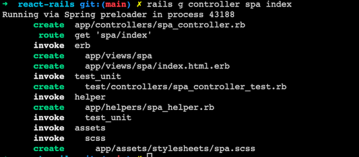 Screenshot of dev environment with spa controller and view files