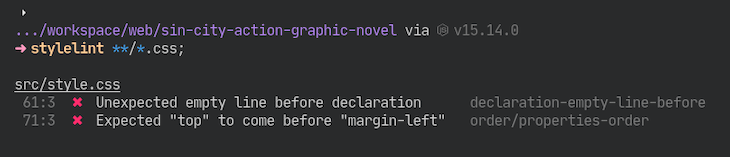 Code Running Stylelint And Highlighting Two Errors
