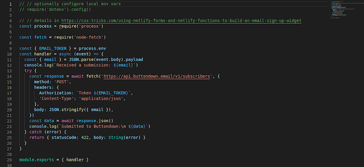 Screenshot of code in the submission-created.js file