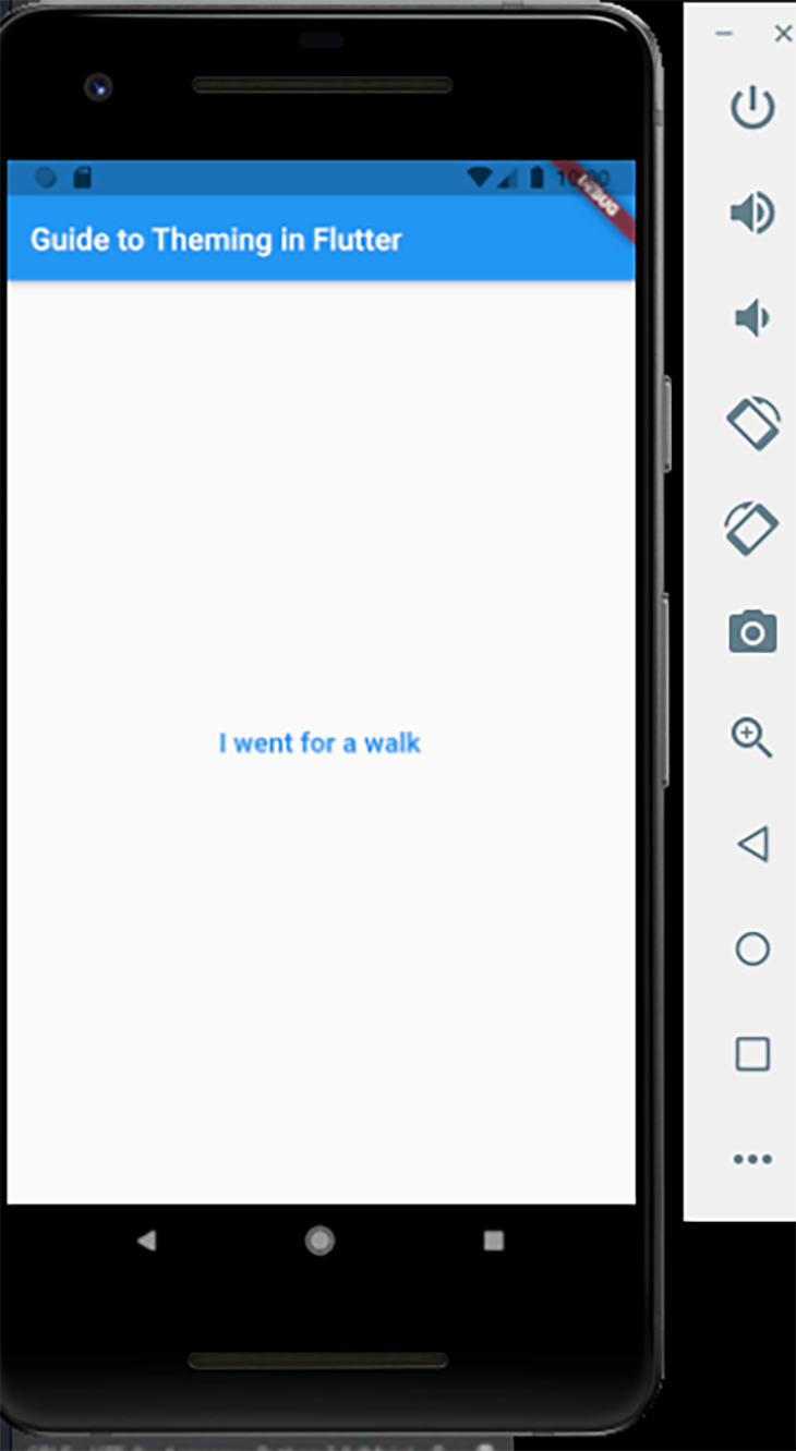 The same text widget demo, with custom font color