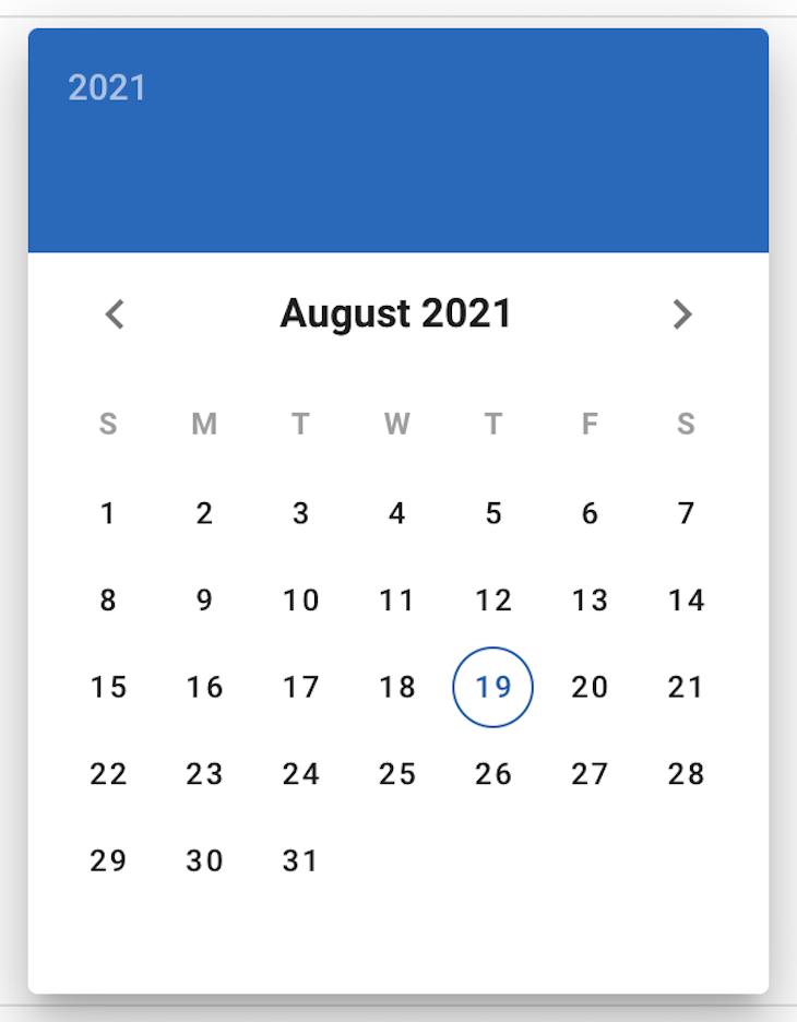 v-date-picker Default Calendar Rendering