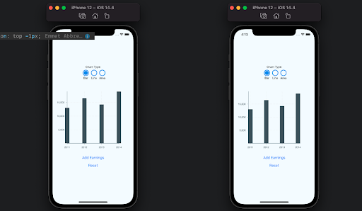 Two Mobile Devices One Displaying A Bar Starting On The Y-Axis And The Other Displaying Space In Between The First Bar