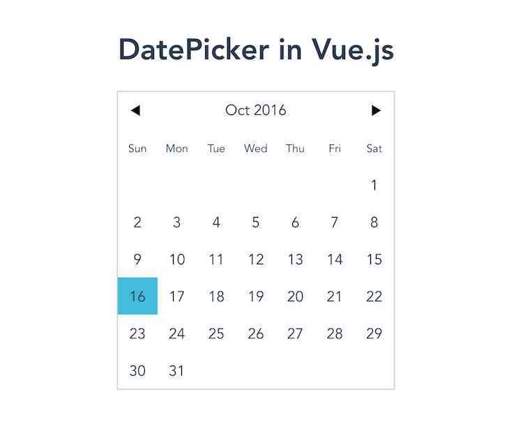 vuejs-datepicker Rendering A Calendar View With The Inline Prop