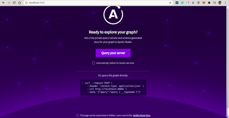 Apollo Sandbox Launch Page With Query Your Server Button
