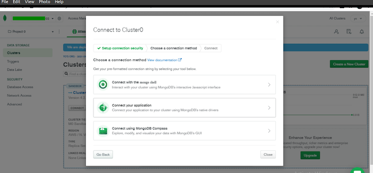Connecting App To Cluster In MongoDB