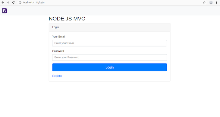 Blank Rendered Login Page With Email Field, Password Field, And Login Button