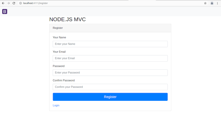 Blank Rendered Register Page With Name, Email, Password, Confirm Password Fields, and Register Button
