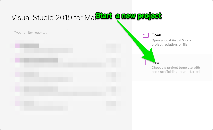 """Screenshot of Visual Studio homepage with arrow pointing to the """"+new"""" button"""